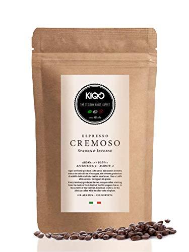 KIQO Cremoso 1kg Espresso aus Italien | in schonenden Kleinstchargen geröstet | säurearm | 15% Arabica & 85% Robusta Bohnen (1000g - ganze Bohnen)