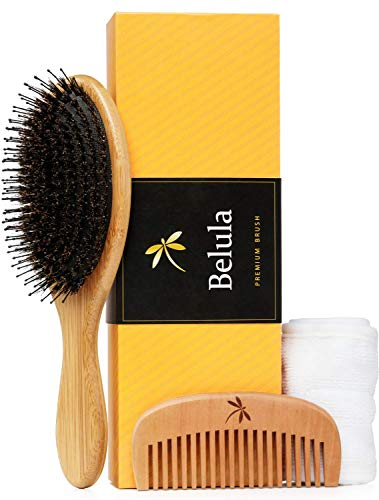 Premium Boar Bristle Hair Brush for Thick Hair Set. Hairbrush for Women With Thick, Long or Curly Hair. Restores Hair's Shine and Health. Comb, Travel Bag & Spa Headband Included