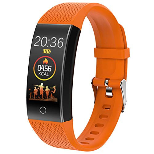 QW18T Pulsera Inteligente Reloj de Temperatura Gimnasio Pulsera Pulsera IP68 Impermeable Smart Watch Pedómetro Pulsera Fitness Presión Arterial,A