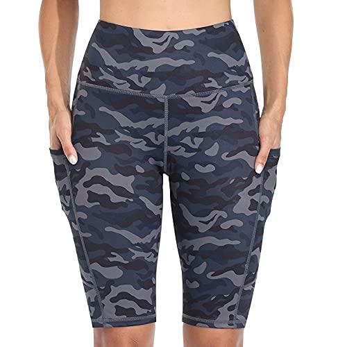 Verano Mujer Deporte Camuflaje Leggins Cintura Alta Shorts Deportivos con Bolsillos Laterales Pantalón Corto Deporte Mujer Elegante Pantalones Mujer Correr Gym Fitness