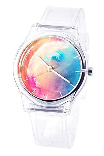 Tonnier, orologio da polso analogico al quarzo, per ragazze, super morbido, cinturino in resina, per studenti, con quadrante nebuloso Trasparente