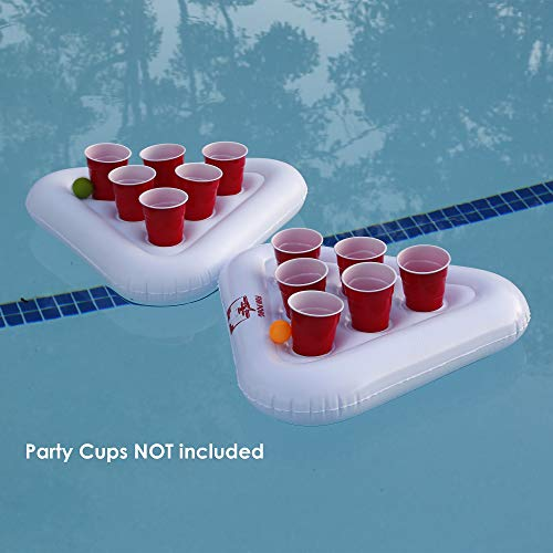 Inflatable Beer Pong Floats 2-Pack, 2 Racks with 3 Balls Set, Pool Party Beer Pong Drinking Game | Inflatable Beer Pong Table | 6 Cup Capacity Each Side | Floating Pong Game for Parties