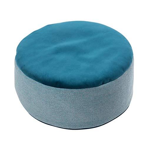 Sofa-Hocker, einfarbig, Stoff, kleine Bank, kreativer Heim, Frisierhocker, multifunktional, weich, gepolstert, Futon, ohne Beine (Farbe: dunkelblau)