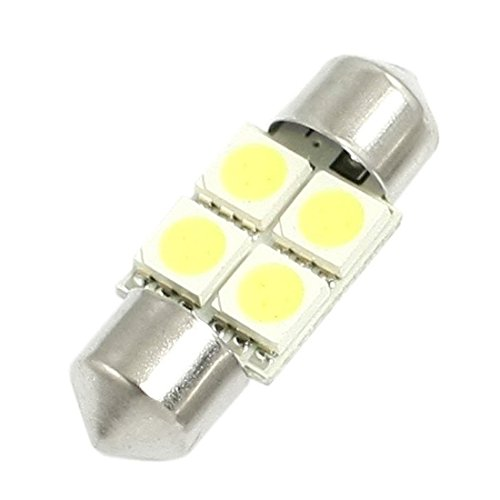 TOOGOO DC 12V 30mm 4 5050 SMD Voiture Interieur Dome feston LED lumiere Blanche 2 Pcs