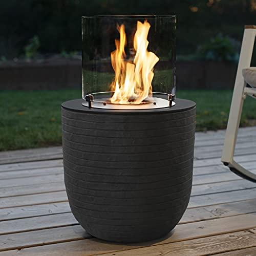 muenkel design Vagos – Rayas negras – Chimenea de bioetanol para jardín con quemador redondo de 300 cámaras