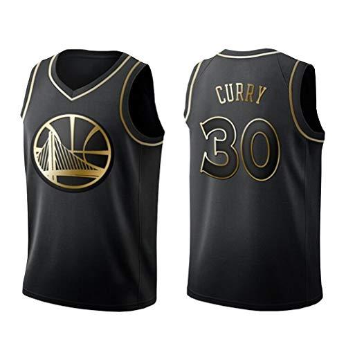 Golden State Warriors Basketballtrikot, 30 Stephen Curry Schwarzes und goldenes Trikot Lose und Bequeme Freizeitweste (S-XXL)-M