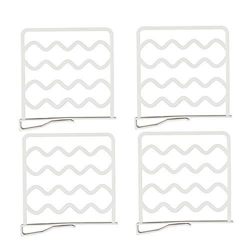 Windyeu Regaltrenner Schrank Ordnungssystem Weiß 4 Stücke Multifunktional Hängender Bügel für Schlafzimmer Küche Kabinett Schreibtisch aus Kunststoff Kleiderschrank Organizer
