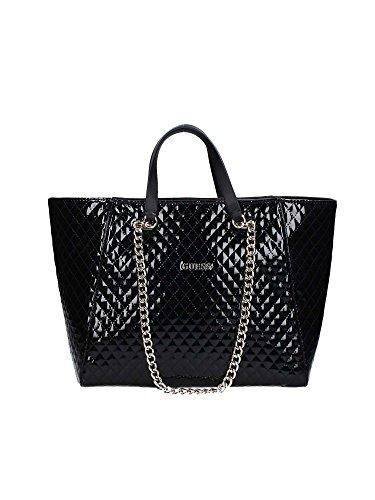 Guess Nikki Chain shopping bag tote black shine