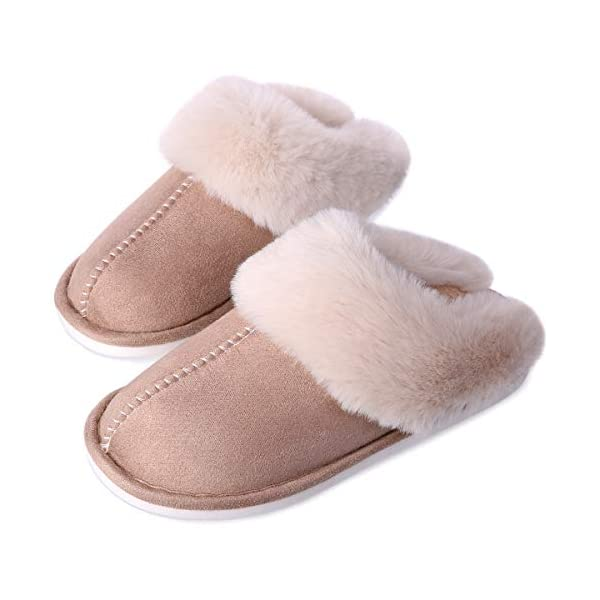 Women's Fuzzy Fur House Slippers, Fluffy Memory Foam Slippers, Slip-on Plush House Shoes for Couples