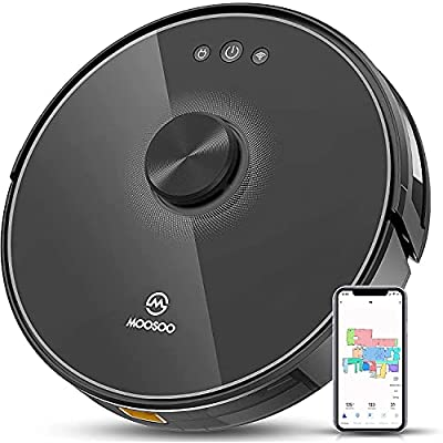MOOSOO Robot Vacuum, Lidar Navigation SLAM Mapping, 2200Pa Suction, Wi-Fi Connectivity, Self-Charging Robotic Vacuum Cleaner, No-Go Zone, Works with Alexa, Ideal for Pet Hair, Floors, Carpets