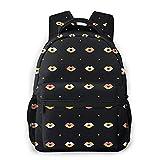 Mochilas escolares para niñas Mandarin Duck Heart Black Casual Bolsa de hombro Librero Ligero Daypack, Lips Kiss Dots Colorful, Talla única