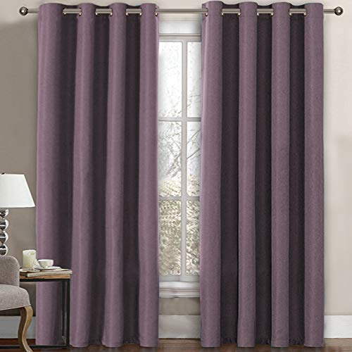 Linen Blackout Curtain 84 Inches Long for Bedroom / Living Room Thermal Insulated Grommet Linen Look Curtain Drapes Primitive Textured Burlab Effect Window Drapes 1 Panel - Mauve