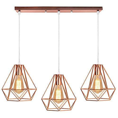 Metall Hängeleuchte Lampenschirme 3 Köpfe Leuchte Kronleuchter Industrielle Diamant-Stil Deckenleuchte für Bar, Küche, Wohnzimmer und Schlafzimmer,Roségold