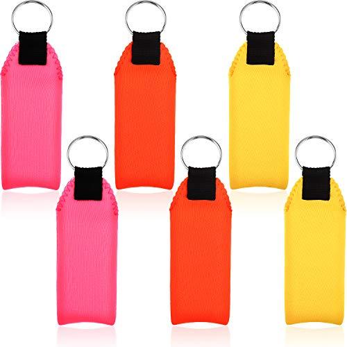 6 Stück Schaum Schwimmender Schlüsselanhänger Neopren Boot Schlüsselbund Wasserdichter Schaum Schlüsselanhänger (Orange, Gelb, Rosa)