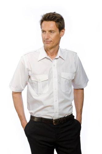 Nordhandel Pilotenhemd, abnehmbare Schulterklappen, Kurzarm Weiß, Größe 47/48