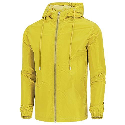 WULFUL Men's Lightweight Windbreaker Jacket Waterproof Hooded Outdoor Jackets Casual Outwear Rain Jacket