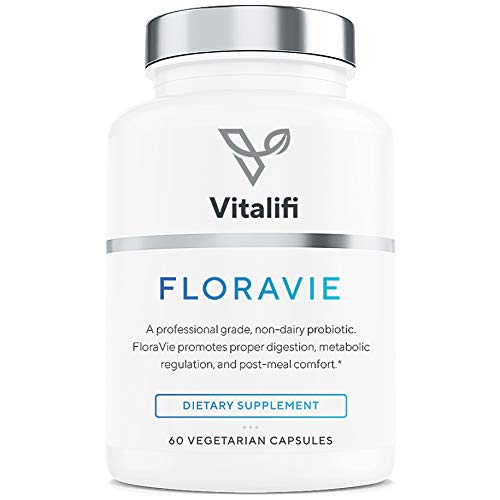 Floravie Premium Multi Strain Probiotic Supplement with Digestive Enzymes - 30 Billion CFU, 7 Dairy Free Non-Histamine Producing Strains of Good Bacteria for Women & Men - 60 Capsules