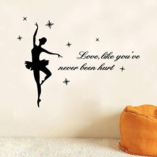 JXFM Geschnitzte Ballettmädchen Englisch Tanz Klassenzimmer Dekoration Aufkleber 58 * 25CM