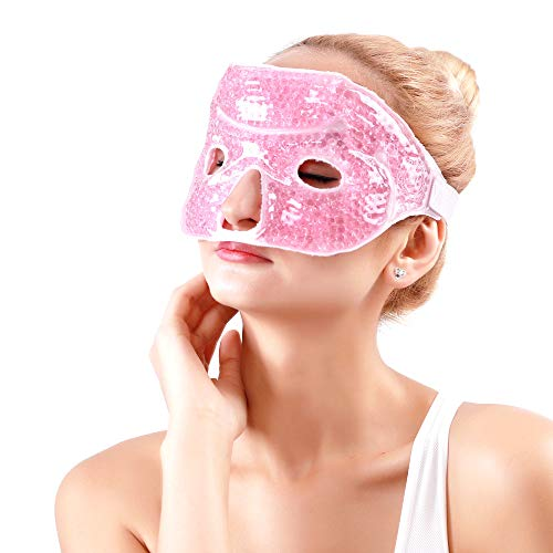 Ice Face Mask with Eye Holes Hot Cold Pack Eye Therapy Gel Bead Eye Mask for Pain Relief, Swelling, Migraines, Headaches, Stress Relief - Pink