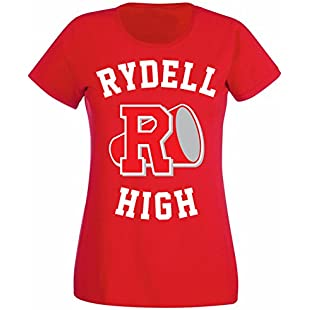Womens Rydell High School Logo Grease Costume T-shirt Red UK 8-10 (M)