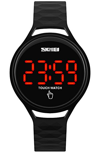 Unisex Uhr Digital Quarz Silikon LED Touch Screen Wasserdicht Modische Sportuhr Schwarz