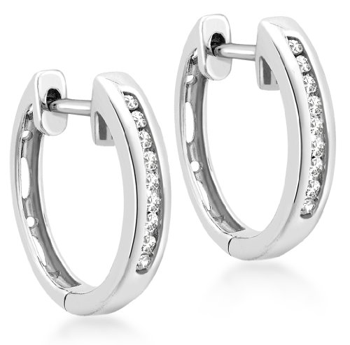 Carissima Gold 9ct White Gold 0.10ct Diamond 14mm Huggy Earrings
