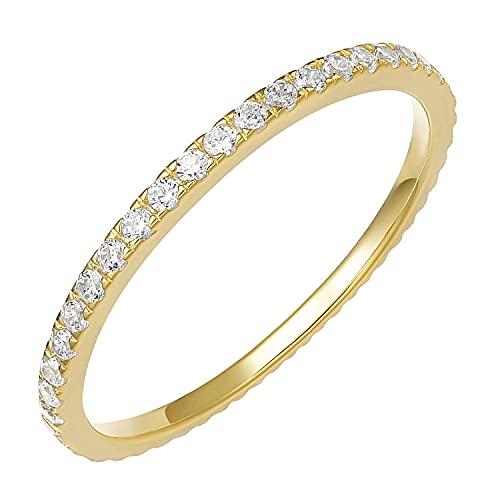 PAVOI AAAAA CZ 14K Anillo de eternidad apilable de circonita cúbica plateada en oro amarillo - Talla 7 para mujer