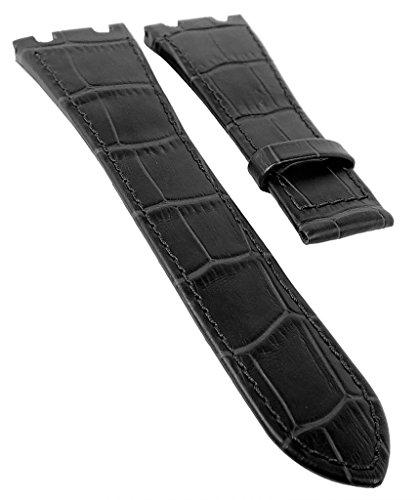 Jaguar Swiss Made - Correa de repuesto para reloj de pulsera de piel negra con relieve de cocodrilo para J666, J667, J670 y J696