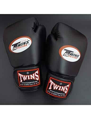 QJSTD 8 10 12 14 Oz Twins Guanti Kick Guantoni da Boxe Pelle Pu Sanda Sandbag Training Guantoni da Boxe Neri Uomo Donna Guanti Muay Thai,Black