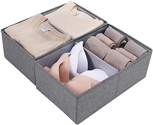 VTAMIN Contenedores de almacenamiento abiertos de múltiples usos con divisor extraíble para ropa interior, papelería, juguetes, bueno para armario, estantería, organizador de escritorio, paquete de 2,