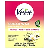 VEET Sugar Wax Hair Remover - Perfect for First Time Waxers - Contains 12 Fabric Strips & 1 Spatula with a...
