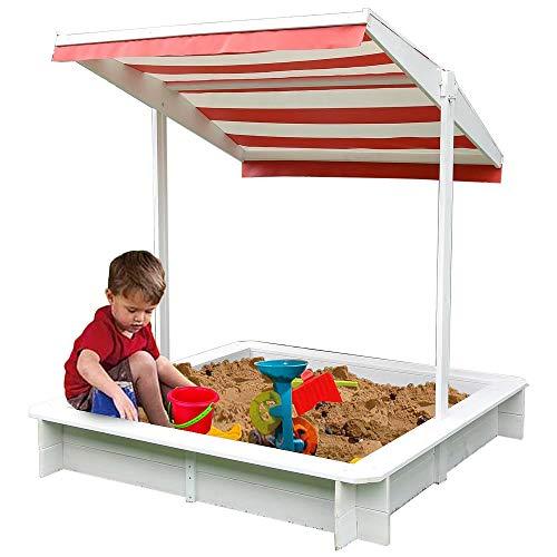 Melko Sandkasten mit Sonnenschutz Sandkiste 120x120x120 cm Sandkiste Kindersandkasten