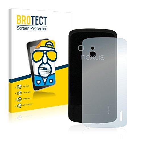 BROTECT 2X Entspiegelungs-Schutzfolie kompatibel mit Google Nexus 4 (Rückseite) Bildschirmschutz-Folie Matt, Anti-Reflex, Anti-Fingerprint
