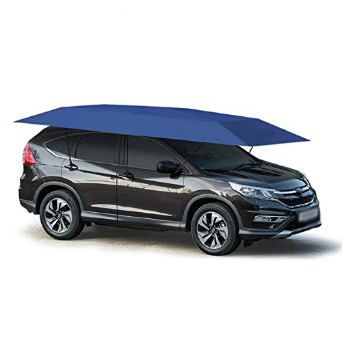 Lixiabeidai Autozelt-Abdeckung, abnehmbare Carport faltbar tragbarer Autoschutzauto-Regenschirm-Regen- und Sonnenschutz (vollautomatisch),Blue-4.6m