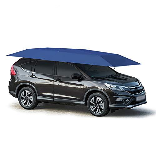 Lixiabeidai Autozelt-Abdeckung, abnehmbare Carport faltbar tragbarer Autoschutzauto-Regenschirm-Regen- und Sonnenschutz (vollautomatisch),Blue-4.2m