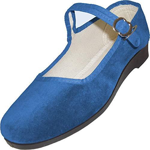 China-Samtschuhe, Größe 39, Jeansblau