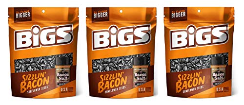 BIGS Sunflower Seeds 3.63 oz - Pack of 3 (Sizzlin' Bacon)
