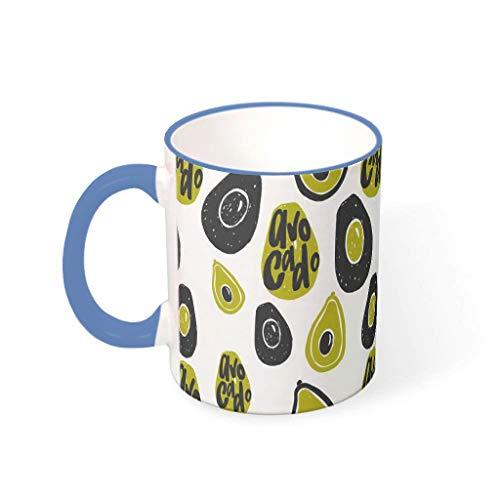 O2ECH-8 11 oz Avocado Getränke Müsli Becher Tassen mit Griff Porzellan Funny Becher - Cyan Mädchen Geschenke, für Familie verwenden Midnight Blue 330ml