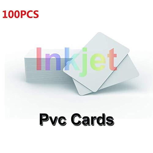 100 X tarjetas de identificación de PVC imprimibles por inyección de tinta Funciona con las impresoras de inyección de tinta Epson y Canon, CR80 30 MIL Grueso y impermeable Material-TimesKey