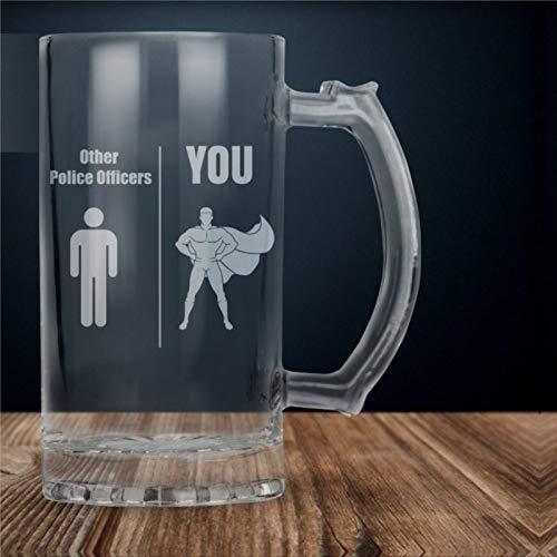 Bicchieri da birra con regalo ufficiale di polizia, regalo personalizzato ufficiale di polizia con incisione, elegante bicchiere da whisky, divertente regalo per lei o lui, 480 ml