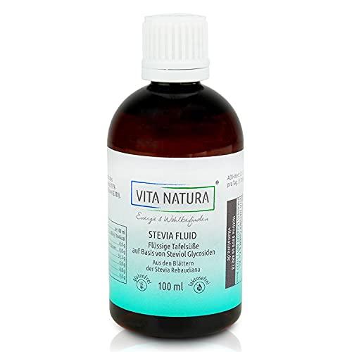 VITA NATURA Stevia-Fluid – Steviafüssig – Süßstoff füssig – aus der Stevia Pflanze - Apothekenqualität - in 100 ml Braunflasche erhältlich