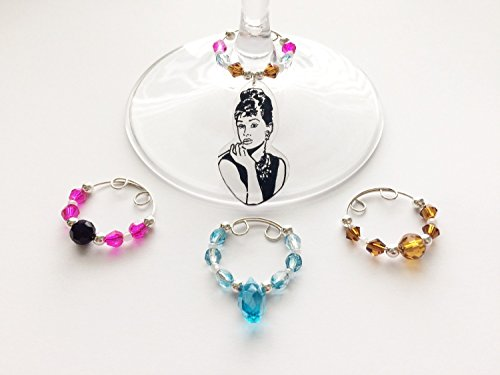 Audrey Hepburn Beaded Wine Charm Set of 4 / Classy Fun Hostess Gift/ Girls' Night Out / Valentine's Day
