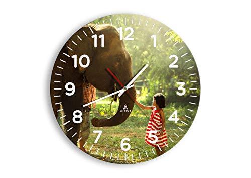 Wanduhr - Rund - Glasuhr - Breite: 40cm, Höhe: 40cm - Bildnummer 3884 - Schleichendes Uhrwerk - lautlos - zum Aufhängen bereit - Kunstdruck - C4AR40x40-3884
