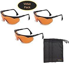 Uvex S1933X Skyper Safety Eyewear, Black Frame, SCT-Orange UV Extreme Anti-Fog Lens (3-Pack) w/InPrimeTime Carry Pouches