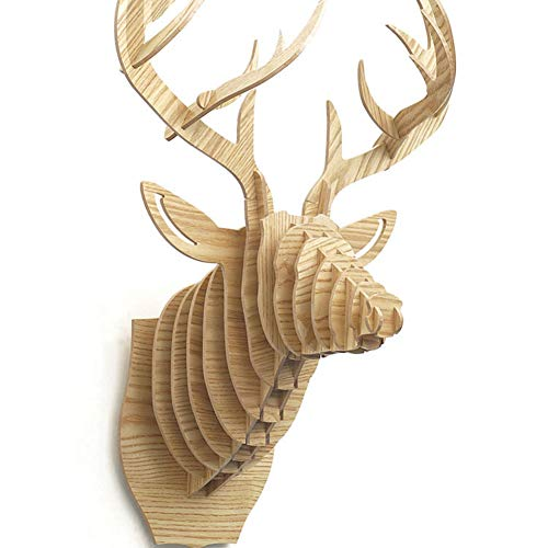 YB&GQ Creativo Decoración De Pared,Animal Ornamento Cabeza De Los Ciervos Trofeo Madera Taxidermia 3D Arte Rompecabezas,Gran para Niños Desarrollo Inteligencia-Grano De Madera 64x47cm(25x19inch)