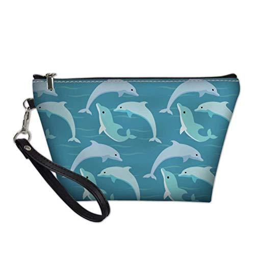 FUIBENG Cosmetic Bag Handy Pouch Cartoon Ocean Dolphin Design Toiletry Bag