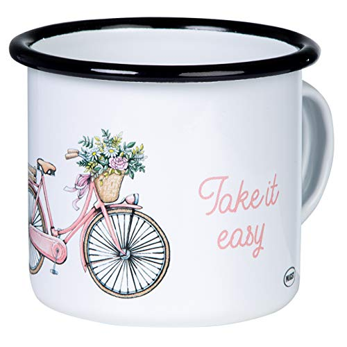 Mugsy - Das Mokkenwerk Keep it Simple - Take it Easy emaille mok met fiets design | email beker breukvast en licht voor fietsers, camping en trekking | Retro koffiebeker 300 ml