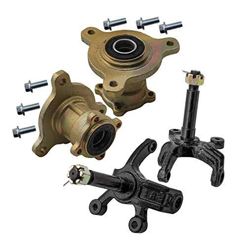 ZXTDR ATV Front Disc Brake Wheel Rim Hub & Steering Knuckle for 110cc 125cc Quad Dirt Bike Go Kart Buggy 4 Wheeler