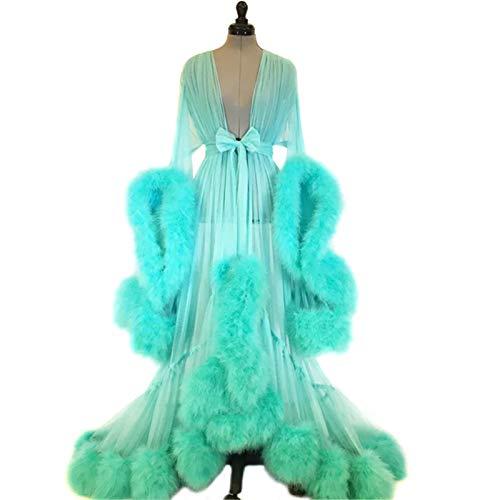 Abilieauty Damen Feder Brautkleid, Hochzeit Schal Lange Dessous Robe, Dessous Robe Lange Schiere, Nachthemd Bademantel Nachtwäsche mit Gürtel