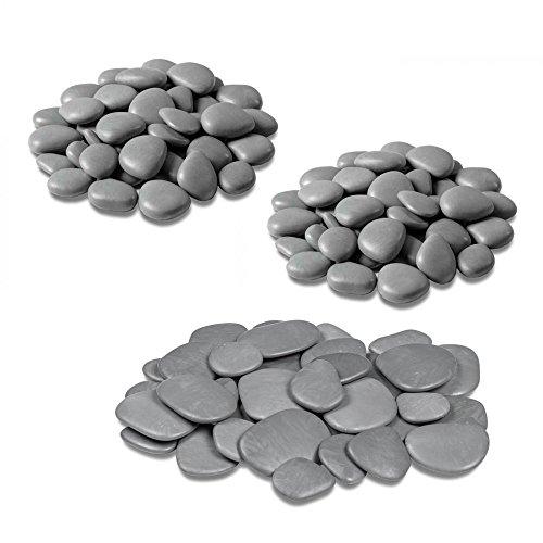 Teraplast - Dekorative Steine für Vasen, Garten und Aquarium aus recyceltem Kunststoff - 3 Packungen, Farbe grau